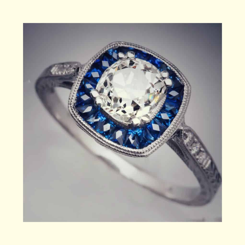 Saphire halo, heirloom ring remodelling